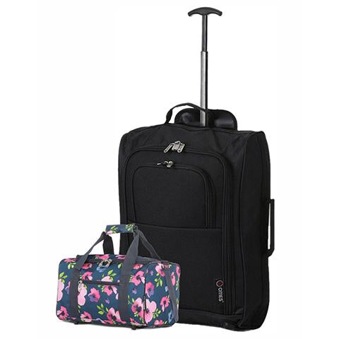 5 Cities (55x35x20cm) Cabin Luggage and Holdall Set | Black & Navy Floral