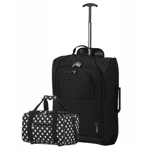 5 Cities (55x35x20cm) Cabin Luggage and Holdall Set | Black & Black Polka Dots