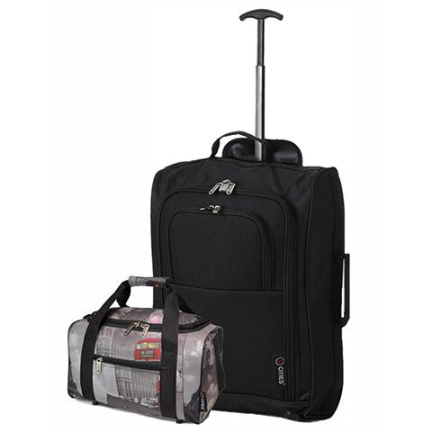 5 Cities (55x35x20cm) Cabin Luggage and Holdall Set | Black & Cities