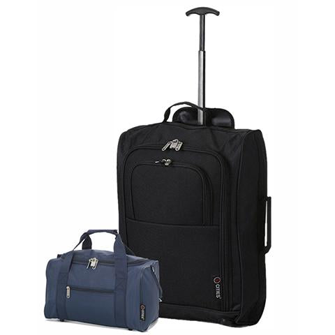 5 Cities (55x35x20cm) Cabin Luggage and Holdall Set | Black & Navy