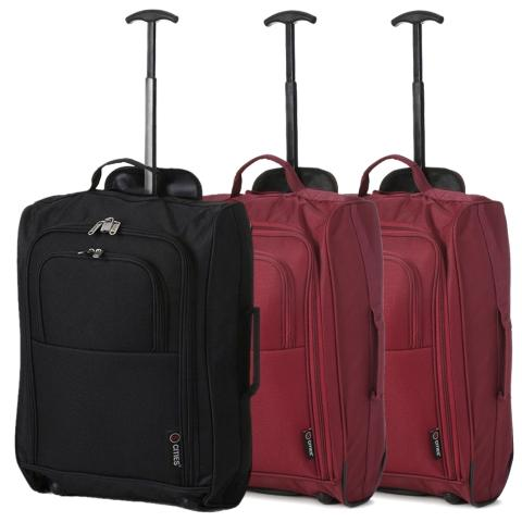 5 Cities (55x35x20cm) Lightweight Cabin Luggage Set | Black & Wine
