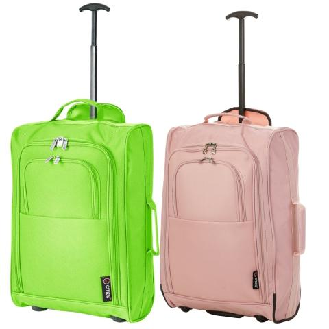 5 Cities (55x35x20cm) Lightweight Cabin Luggage Set | Green + Rose Gold