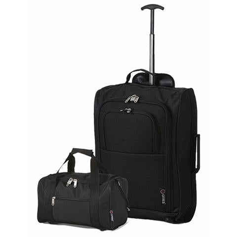 5 Cities (55x35x20cm) Cabin Luggage and Holdall Set | Black