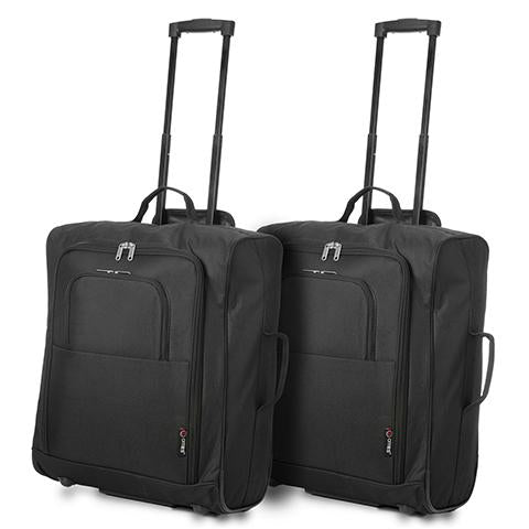 5 Cities (56x45x25cm) Lightweight Cabin Luggage | Two Piece Luggage Set | Black