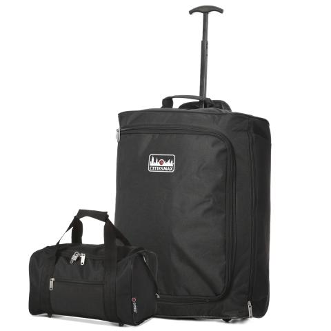 5 Cities (55x40x20cm) Lightweight Cabin Luggage and Holdall Set | Black