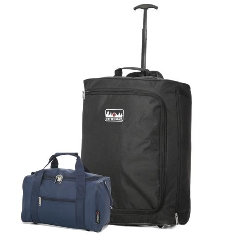5 Cities (55x40x20cm) Lightweight Cabin Luggage and Holdall Set | Black & Navy
