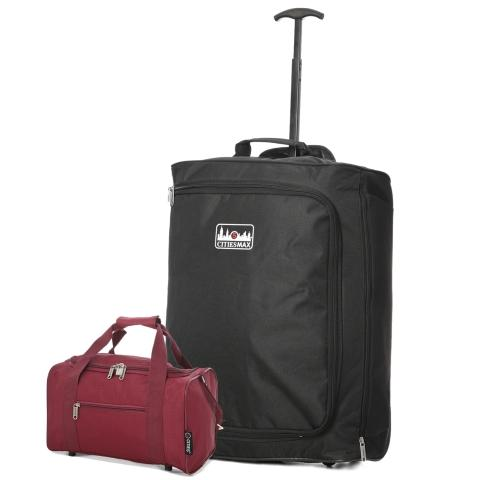 5 Cities (55x40x20cm) Lightweight Cabin Luggage and Holdall Set | Black & Wine