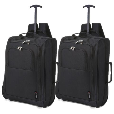 5 Cities (55x35x20cm) Lightweight Cabin Luggage | Two Piece | Black