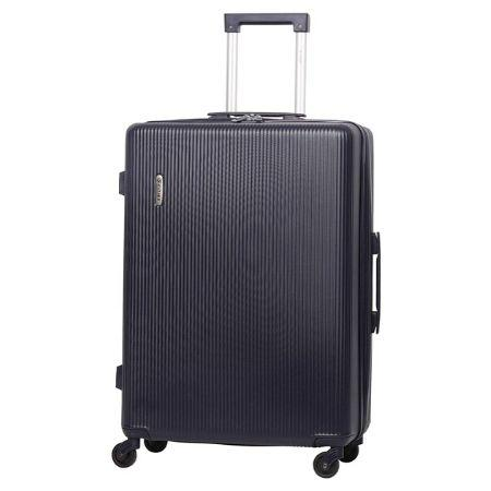 5 Cities Medium Lightweight Hard Shell 4 Wheel Travel Hold Checked Check in Luggage Suitcase Navy Blue