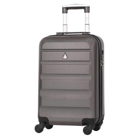 Aerolite (55x35x20cm) Lightweight 4 Wheel ABS Hard Shell Hand Cabin Luggage Suitcase 55x35x20 with Built in TSA Combination Lock - Charcoal