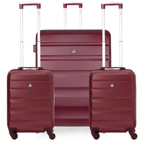 Aerolite Hard Shell Suitcase Luggage Travel Bundle (2 x Cabin Hand Luggage + 1 x Large Hold Luggage Suitcase) - Wine