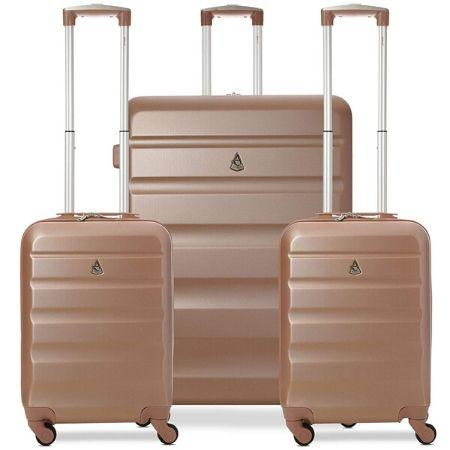 Aerolite Hard Shell Suitcase Luggage Travel Bundle (2 x Cabin Hand Luggage + 1 x Large Hold Luggage Suitcase) - Rose Gold