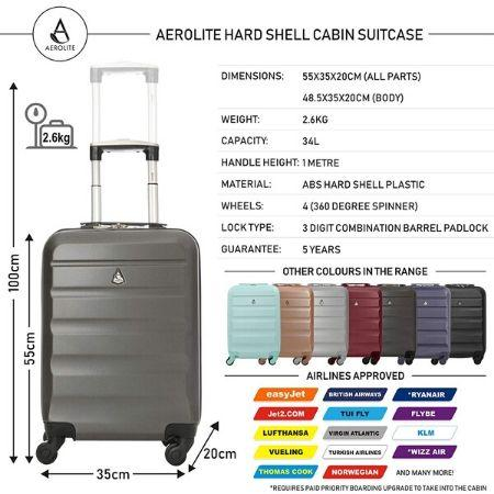 Aerolite Hard Shell Suitcase Luggage Travel Bundle (2 x Cabin Hand Luggage + 1 x Large Hold Luggage Suitcase) - Charcoal