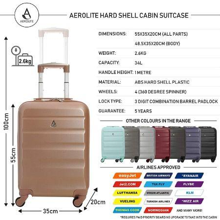 Aerolite Hard Shell Suitcase Complete Luggage Set (Cabin + Medium + Large Hold Luggage Suitcase) - Rose Gold