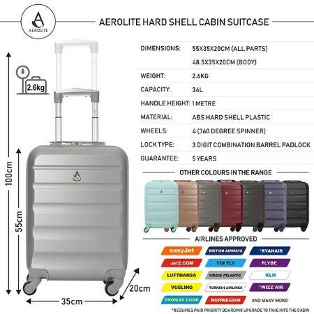 Aerolite (55x35x20cm) Lightweight Hard Shell Cabin Hand Luggage (Silver + Wine + Charcoal Set)