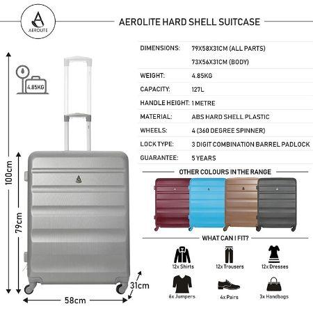Aerolite (70x58x31cm) Large Lightweight Hard Shell Luggage Suitcase - Silver