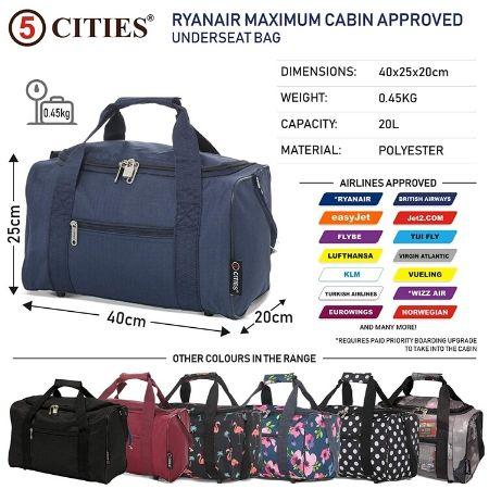 5 Cities (40x20x25cm) Hand Luggage Holdall Flight Bag (x2 Set) - Navy