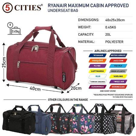 5 Cities (40x20x25cm) Hand Luggage Holdall Flight Bag (x2 Set) - Wine