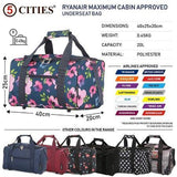 5 Cities (40x20x25cm) Hand Luggage Holdall Flight Bag - Navy Floral
