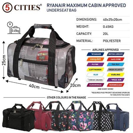 5 Cities (40x20x25cm) Hand Luggage Holdall Flight Bag (x2 Set) - Cities