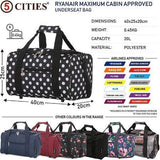 5 Cities (40x20x25cm) Hand Luggage Holdall Flight Bag - Black Polka