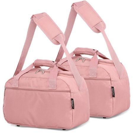 Aerolite (40x20x25cm) Hand Luggage Holdall Bag (x2 Set) - Rose Gold