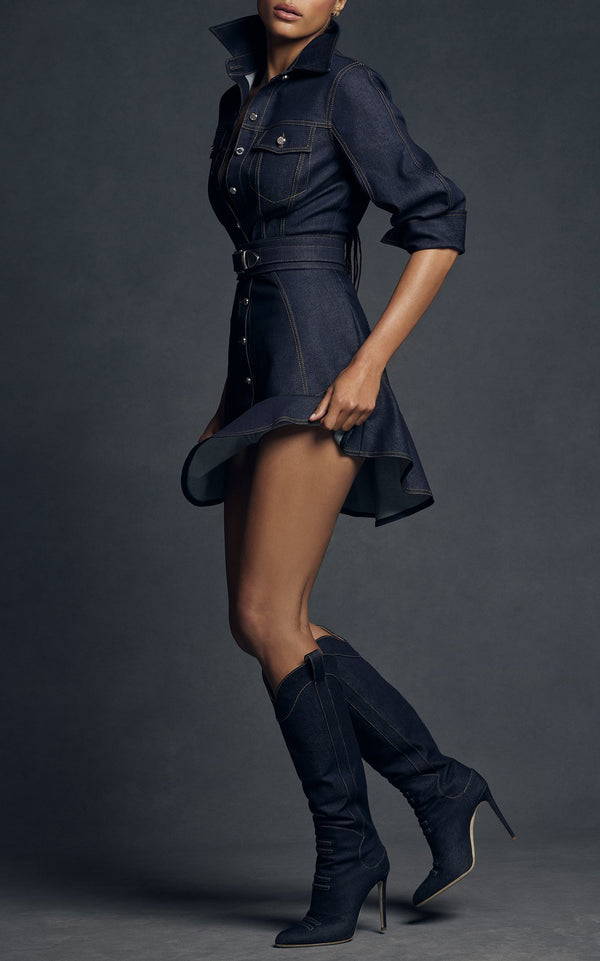 Denim Button Down Dress with Flutter Hem - BRANDON MAXWELL