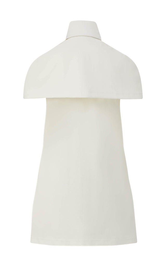 Stretch Piqué Shirt Dress with Cape - BRANDON MAXWELL