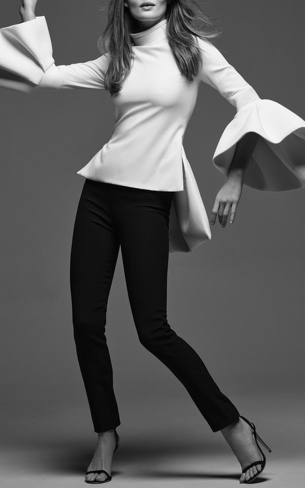 Bell Sleeve Top with Layered Mock Neck Ivory - BRANDON MAXWELL