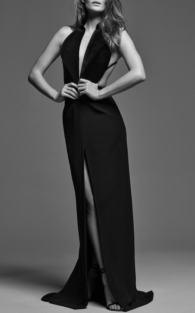 Velvet Tuxedo Gown with Open Back - BRANDON MAXWELL