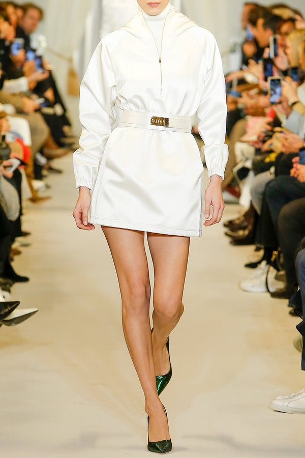 Dual Satin Anorak Mini Dress - BRANDON MAXWELL