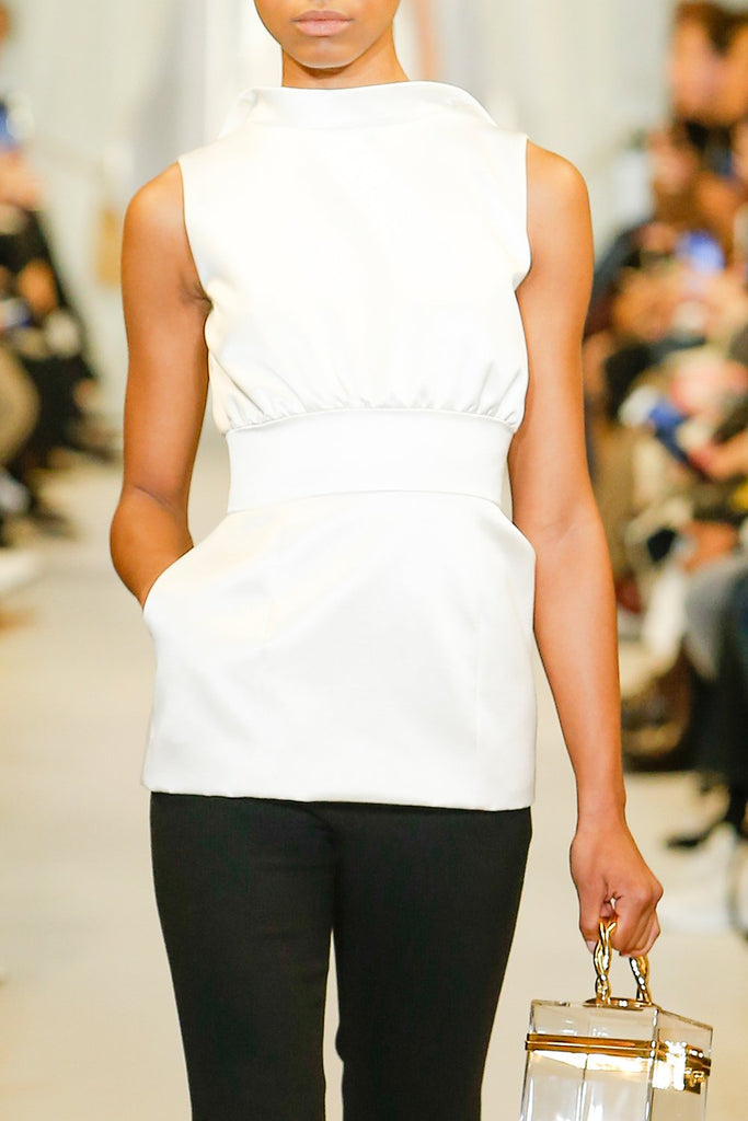 Peplum Top With Back Zipper Detail - BRANDON MAXWELL
