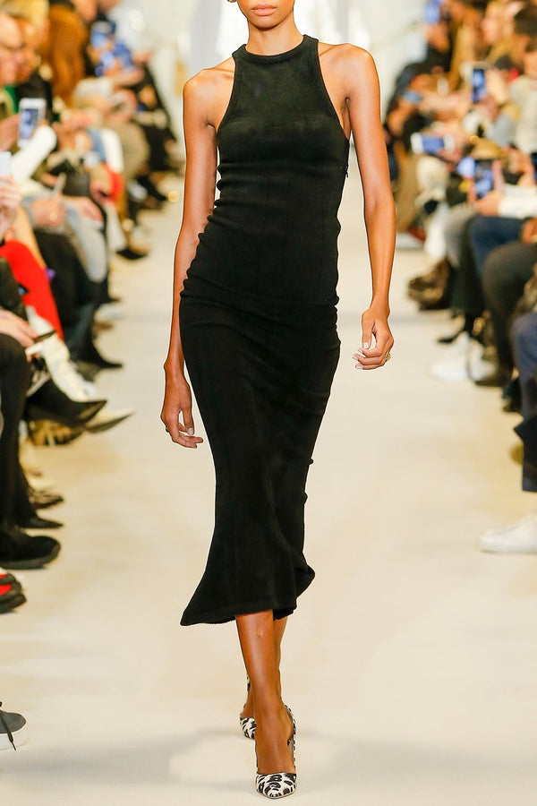Chenille Knit Racerback Fit and Flare Dress - BRANDON MAXWELL