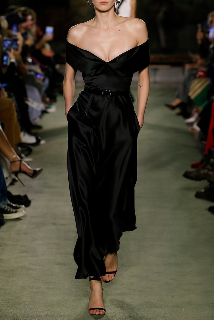 Satin Off the Shoulder Dress - BRANDON MAXWELL