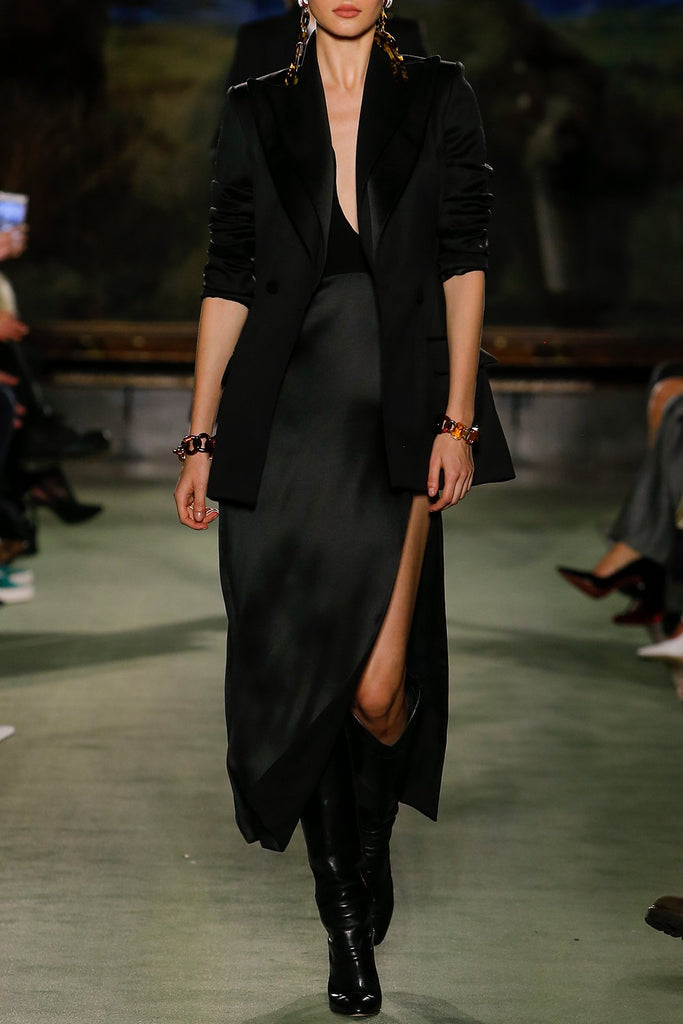Satin Cocktail Dress with Plunging Sweetheart Neckline - BRANDON MAXWELL