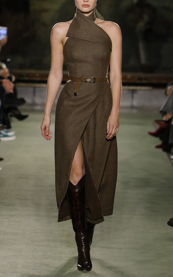 Plaid Halter Dress with Crossover Detail - BRANDON MAXWELL