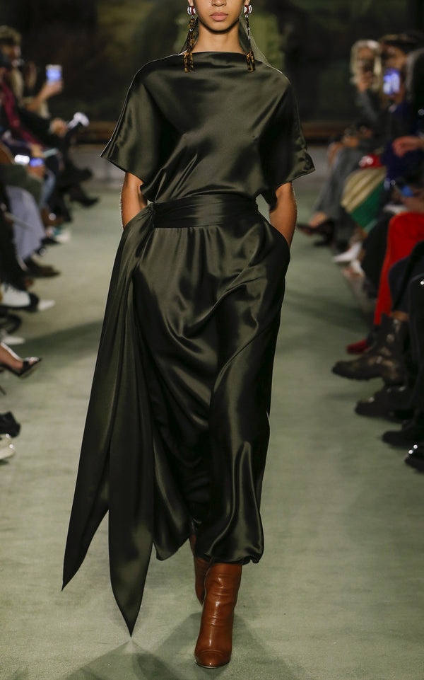 Silk A-Line Dress with Waist Sash - BRANDON MAXWELL