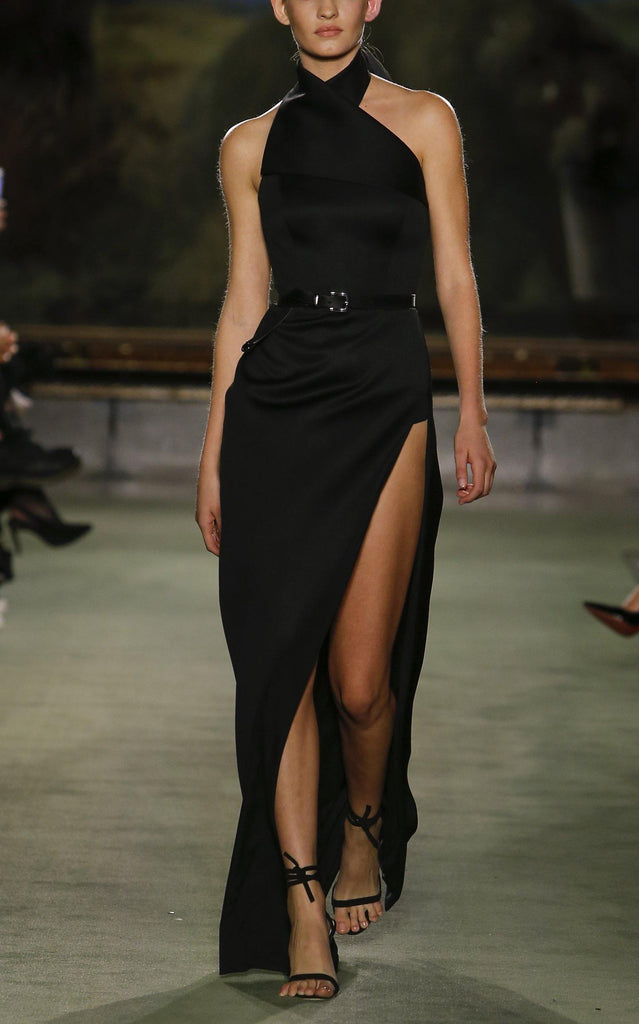 Wool Halter Gown with Crossover Detail - BRANDON MAXWELL