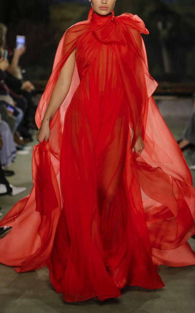Silk Chiffon Gown with Attached Cape - BRANDON MAXWELL