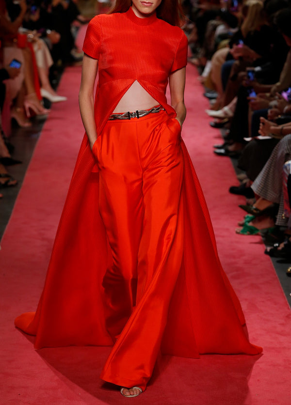 Basket Weave Crop Gown Top with Train - BRANDON MAXWELL