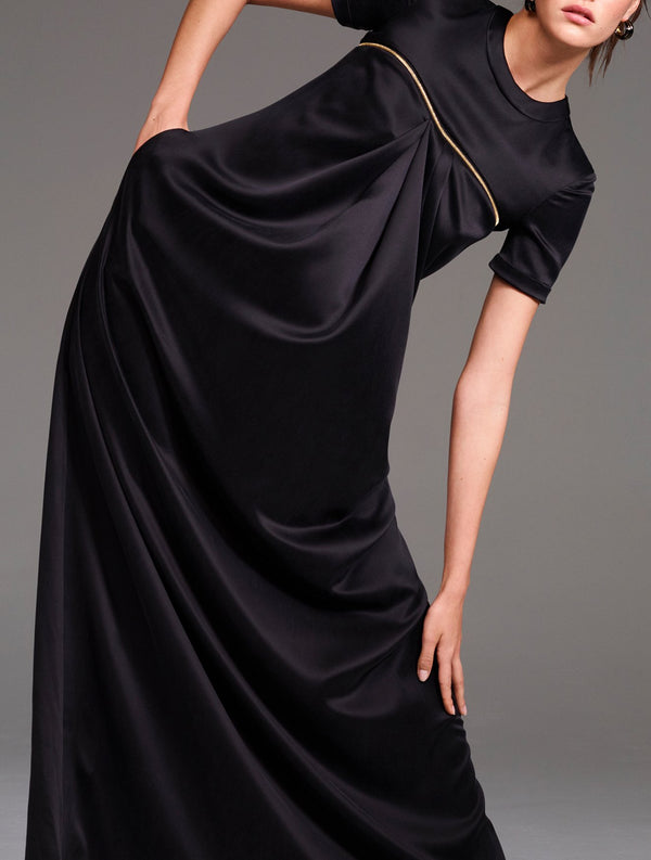 Suede Charmeuse Drape Gown with Zipper Detail - BRANDON MAXWELL