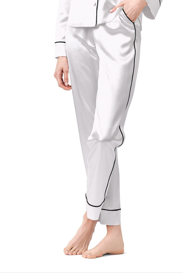 Silk Pajama Pant With Piping Detail - BRANDON MAXWELL