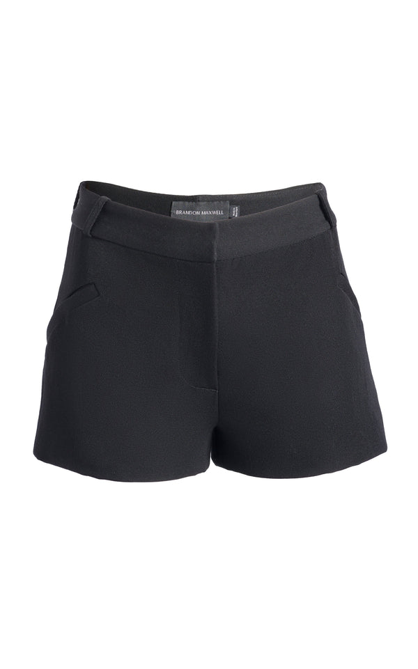 Wool Shorts with Welt Pocket - BRANDON MAXWELL