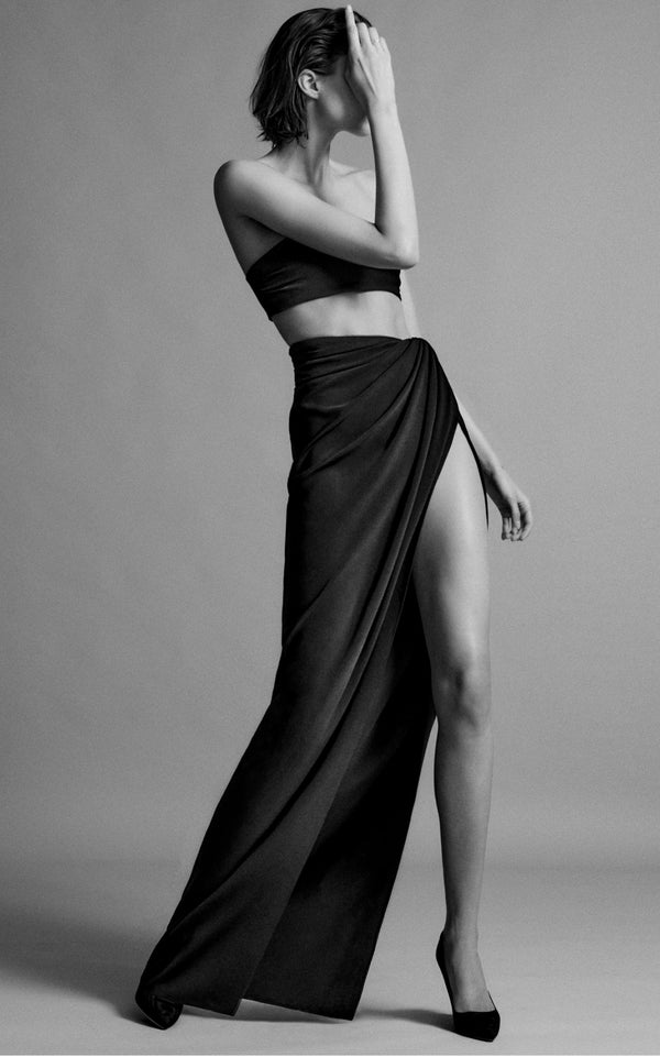 Stretch Crepe Draped Skirt with Side Slit - BRANDON MAXWELL