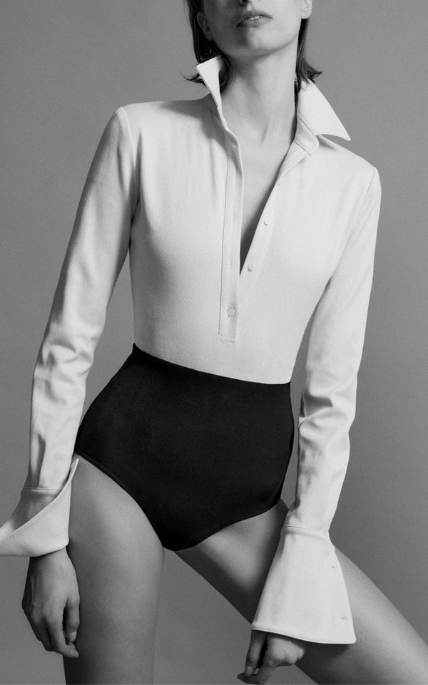 Pique Button Down Bodysuit with Jersey Bottom - BRANDON MAXWELL