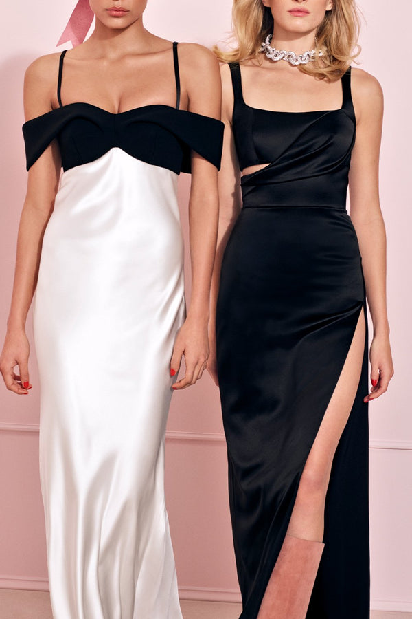 Satin Gown with Off Shoulder Drape - BRANDON MAXWELL