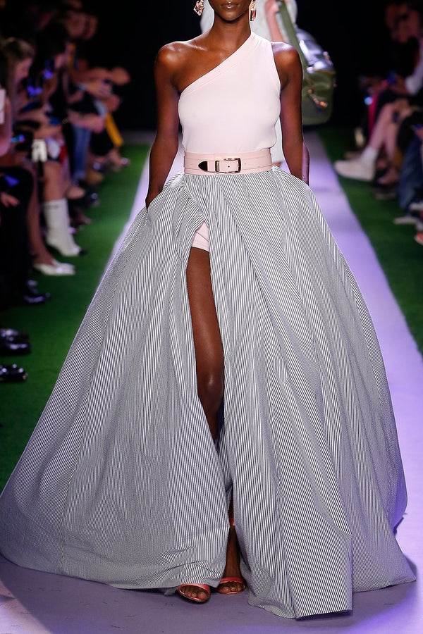 Seersucker Ball Skirt - BRANDON MAXWELL
