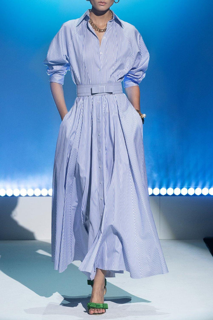 Striped Cotton Shirt Dress with Blouson Sleeves - BRANDON MAXWELL