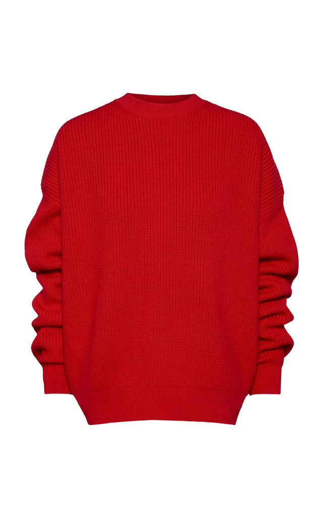 Wool Oversized Sweater with Crew Neck - BRANDON MAXWELL