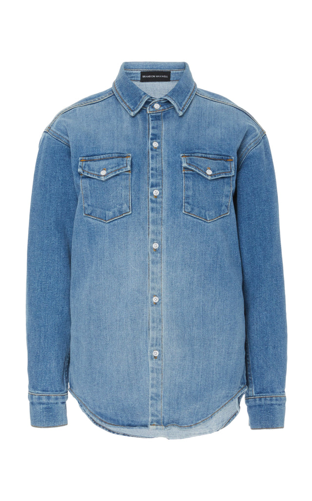 Denim Button Down Shirt - BRANDON MAXWELL